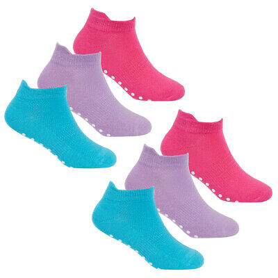 Girls Pastel Plain Socks 6-12 Pairs Non Slip Sole Grip Sport Trainer Liners