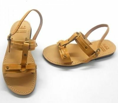 Ancient Greek Womens Leather Sandals Spartan Roman Gladiator Shoes Size Flat