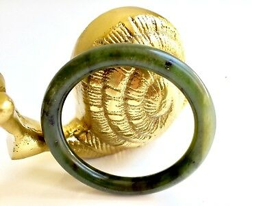 NATURAL NEPHRITE JADE SPINACH GREEN BANGLE BRACELET 6 mm