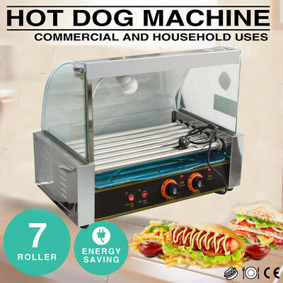 Commercial 18 Hot Dog Hotdog 7 Roller Grill Cooker Machine Snacks W/Cover 1050W