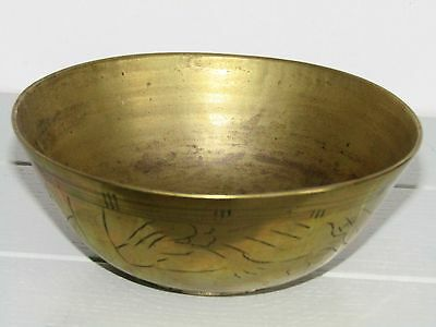Vintage Antique Chinese Brass Small Bowl Hand Carved etched China