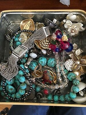 Estate: Old Tin Of Assorted Jewellery