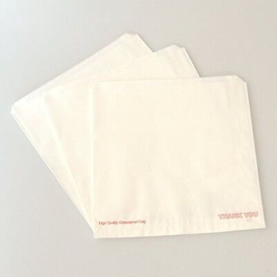 """1000 x White Greaseproof Paper Bags 10"""" x 10"""" Unstrung Hot Food Bags (Scotchban)"""