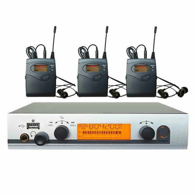 UHF Dual Channel Wireless In Ear Monitor Earphones System 3 Receivers for Stage