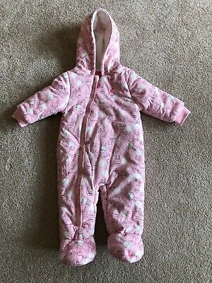 Joules Baby Pink Fleece Snow Suit Winter Size 6-9 Months New