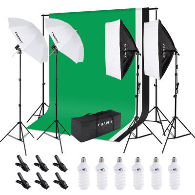 Photography Studio Kit Softbox Continuous Lighting Backdrop Umbrella Stand Set