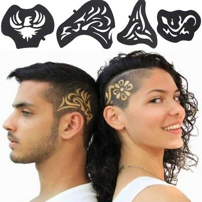 25 Pcs/1 Set Hair Tattoo Template Carved Men Tattoos Patterns Salon Barber Tools