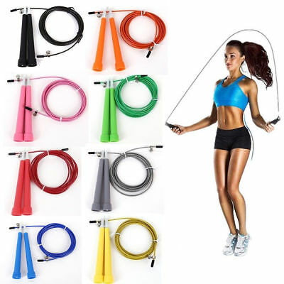 US! Steel Wire Speed Skipping Jump Rope Adjustable Crossfit Fitnesss Exercise 3M