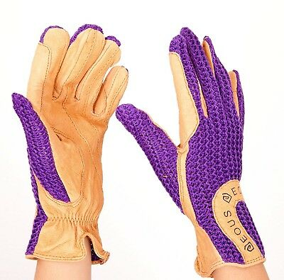 (X-Large, Purple) - EOUS Adult Leather Riding Gloves. Shipping is Free