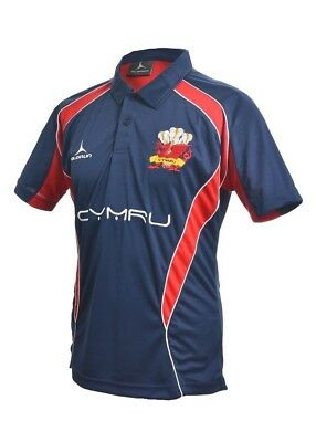 (Large) - Welsh Rugby Supporters Polo Shirt S - XXXXL Olorun Wales Rugby Navy