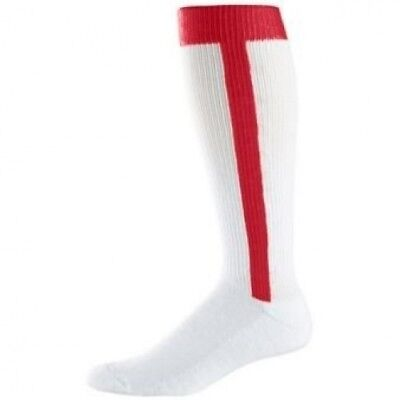 Adult Baseball Stirrup Socks - White and Red. Augusta. Shipping Included