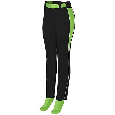 (Large, Black/Lime/White) - Augusta Sportswear Girls' Outfield Pant