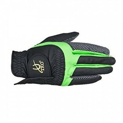 (Large, Black/Green) - TKO Synthetic Leather Race Gloves with silicone palm