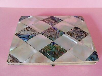 Antique 19Th Century Mother Of Pearl And Abalone Shell Purse / Card Case