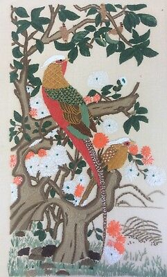 Lovely Vtg Hand Embroidered Birds Of Paradise On Linen Panel Picture