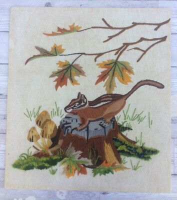 Vtg Completed 70s Long Stitch Hand Embroidered Chipmunk Unframed Linen Picture