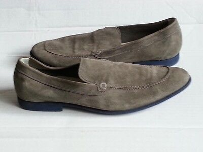 Cole Haan Men Apron Toe Loafers Size 11 Suede Leather Gray Slip Resistant Light