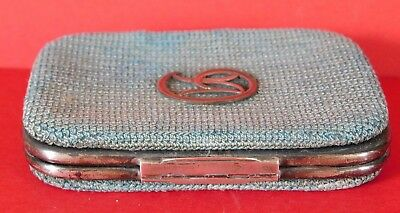 c.1889 ANTIQUE SOLID SILVER AND CLOTH WALLET / PURSE, THORNHILL & Co NEW BOND ST