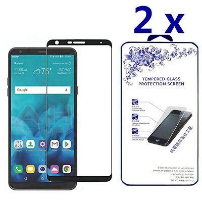 2-Pack For LG Stylo 4 2018 Full Cover Tempered Glass Screen Protector -Black