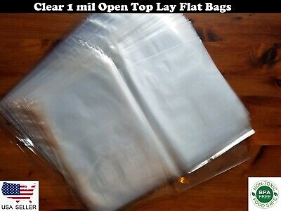 1 Mil Clear Lay Flat Open Top Poly Bags Plastic Baggie Packing Shipping FDA LDPE