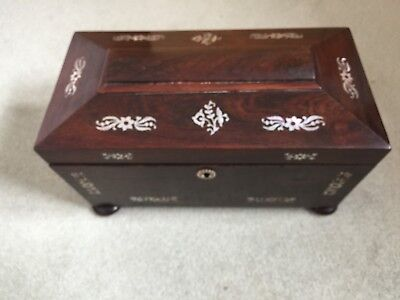 Antique Rosewood Tea Caddy With Mother Of Pearl Inlay For Slight Restoration