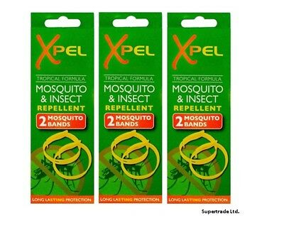 3 X 2 x Adult Xpel Tropical Formula Mosquito Insect repellent bands (DEET FREE)