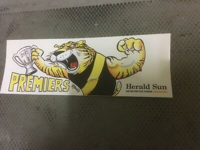 2017 AFL RICHMOND TIGERS PREMIERS BUMPER STICKER Herald sun - NEW CONDITION