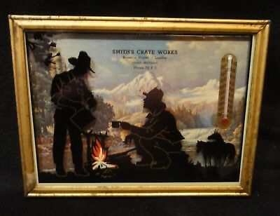 Vintage Advertising Picture Thermometer - Silhouette Cowboy Campfire - 1940's