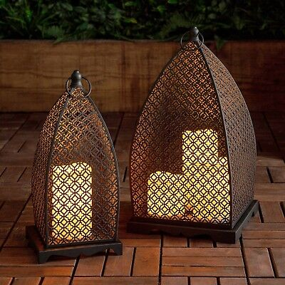 Set of Two Moroccan Lanterns Black Metal LED Candle Battery Outdoor Lights4fun