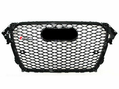 2013-2016 For Audi A4 S4 Black Grille RS4 Style Honeycomb Grill Gloss Black Trim