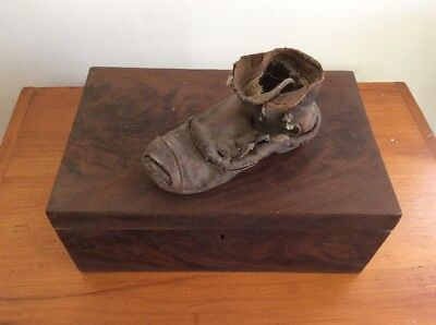 Civil War Era Antique Document Wood Box W/ A Old Beat up Childs Leather Shoe