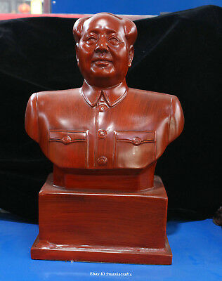 42cm Chinese Natural Red Wild Jujube wood Handmade Mao Zedong statue HBHD