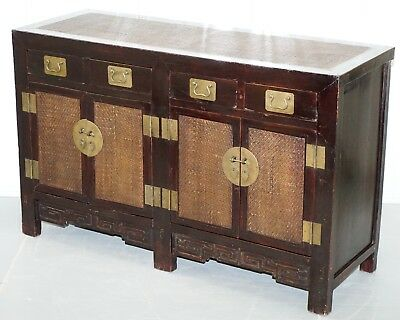 Large Chinese Qing Dynasty Hand Made Sideboard With Rattan Weaved Detailing