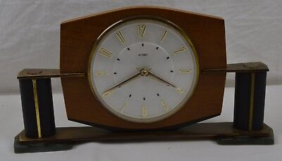 Vintage Metamec Mantle Clock 50s 60s Retro Mid Century Teak Wind Up Wood Wooden
