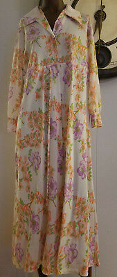 1960s Vintage~by TV Loungers ~ Mod House Dress Muumuu Button Down Floral  M