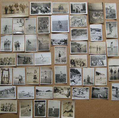People at the Beach/Seaside Job Lot of - 50x Vintage Photographs c1920s-1960s