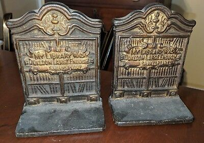 Antique Pair Shakespeare Library Painted Cast Iron Bookends