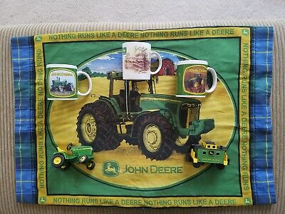 Lot of Vintage John Deere coffee mug pillow case  tractor farmer green official