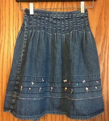 Girls Long Modest Flared Denim Jean Maxi Skirt! Embroidered Floral! Size 7
