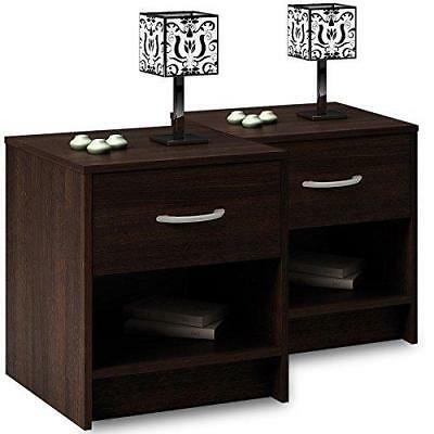 2X Bedside Table Nightstand Cabinet Wenge Look Bedroom Furniture Chest Drawer