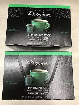 Lot Of Two Boxes Store Brand Peppermint Coffee Kcups 12 Count New Exp Oct 2018