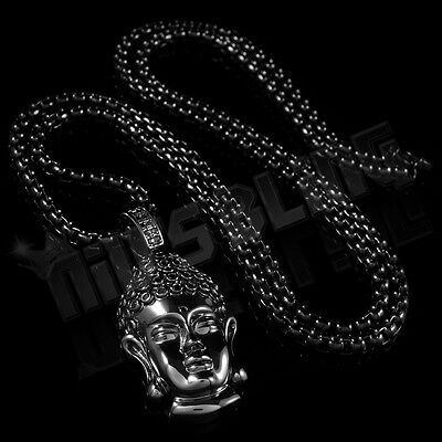 18K Black Gold Plated Iced Out BUDDHA Pendant Stainless Steel 4mm Box Chain