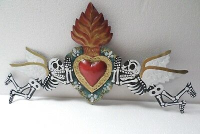 "18"" Mexican Folk Art Punched Tin Wall Ornament Day of Dead Skeleton Angel Heart"