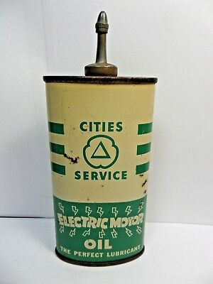 Vintage Very Rare Cities Service Electric Motor Oil Tin Can Handy Oiler Lead Top