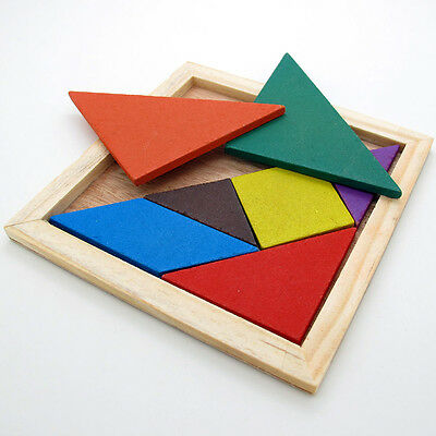 Wooden Tangram Brain Teaser Puzzle Tetris Game Preschool Children Play Toy  EC