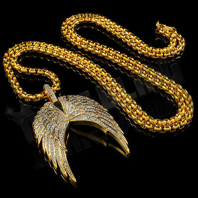 18K Gold Plated WING Stainless Steel 4mm Box Chain Iced Out CZ Hip Hop Pendant
