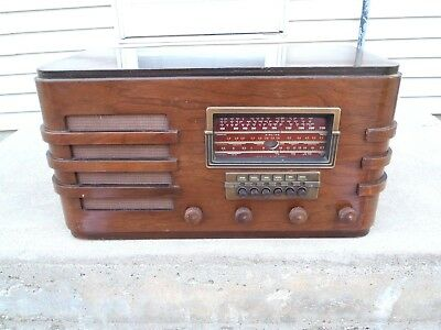 Vintage Airline 62-390 6 Band Wood Tube Radio W/eye Shortwave Broadcast Antique