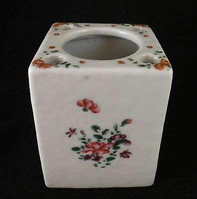 """Rare Chinese Export Porcelain Inkwell w/Bird Quill Holders, c. 1780's. 2"""" sq."""