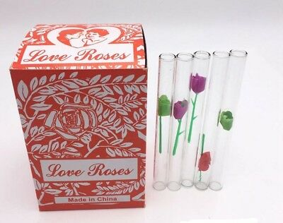 "1 Box of 36 Miniature Silk Tubes Love Roses 4"" Glass Tubes Gift Little Rose(a56)"