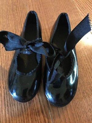 ABT American Ballet Theater Girls Black Patent Leather Tap Shoes Size 9 Toddler